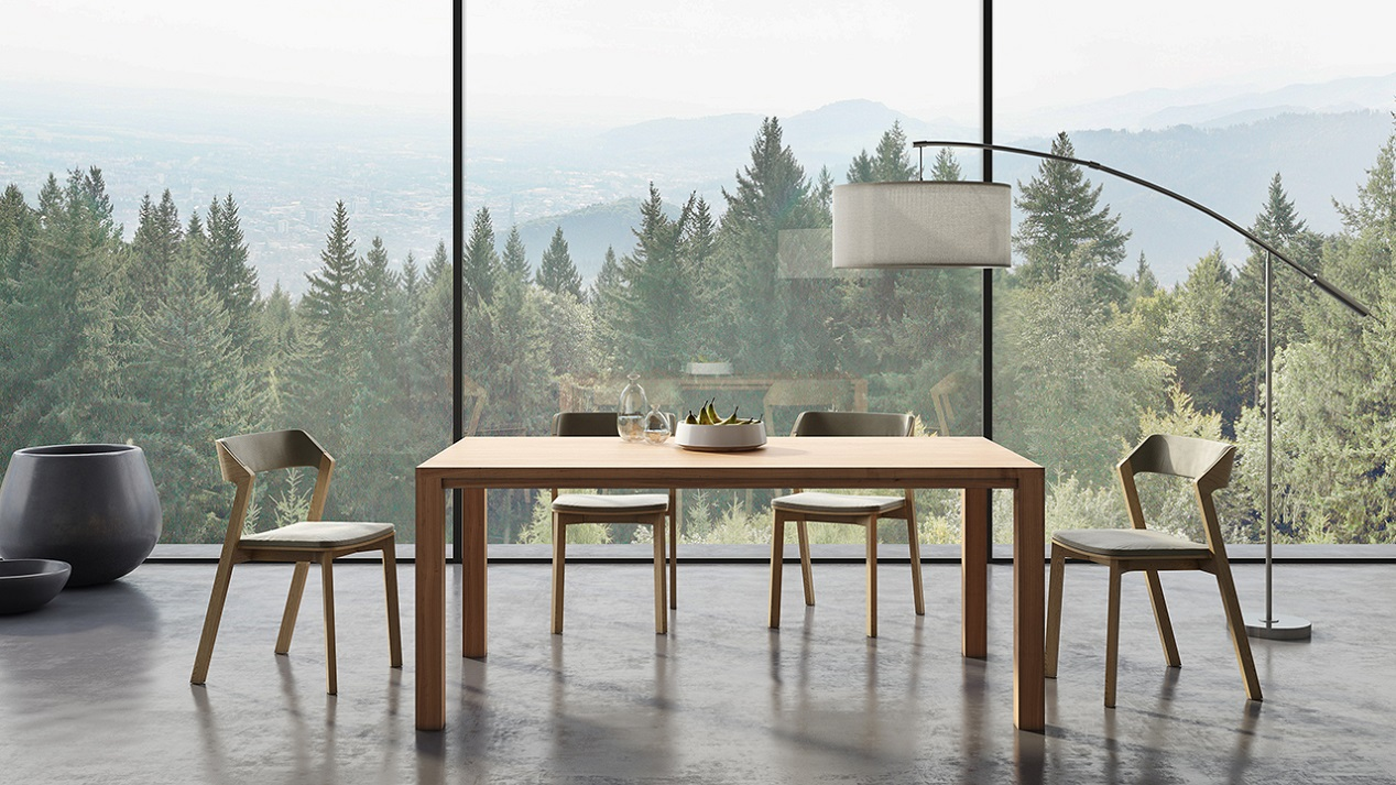 Danish solid wood ash dining room table in a contemporary living room