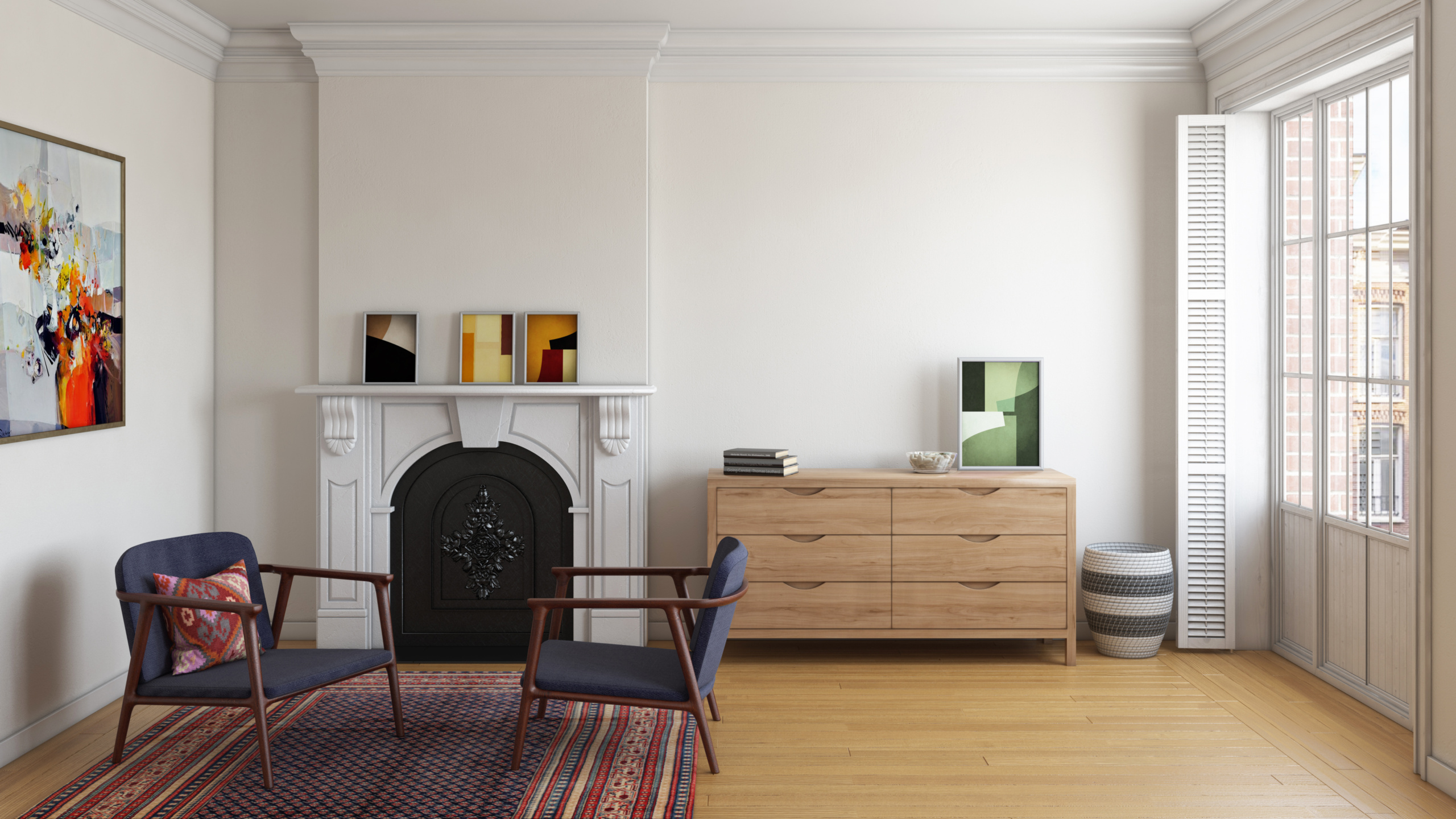 Series 353 modern dresser with integrated solid wood handles in a Parisian apartment