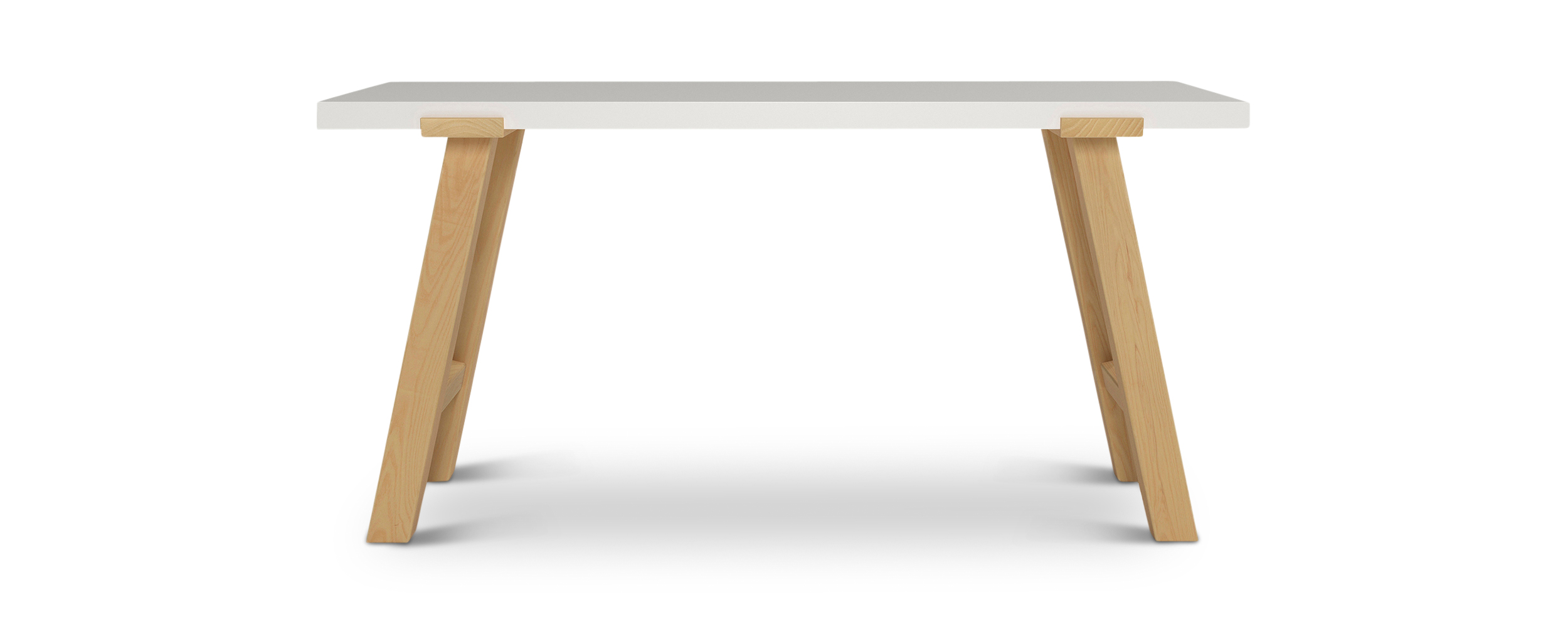 "Pulten.1 modern nordic desk with solid wood legs and a white top 60"" long"