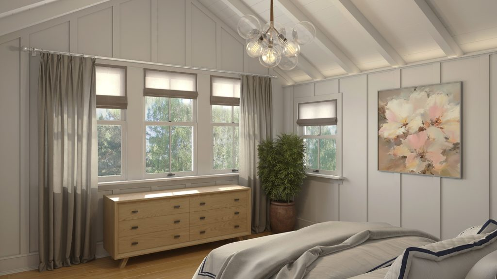 Classic bedroom with wood beams with a solid wood ash luxury dresser