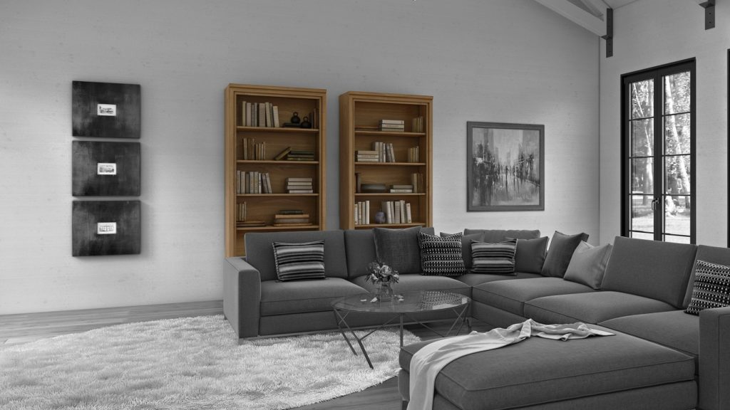 Two Framed_44 fine furniture bookshelves in a large living room with beams
