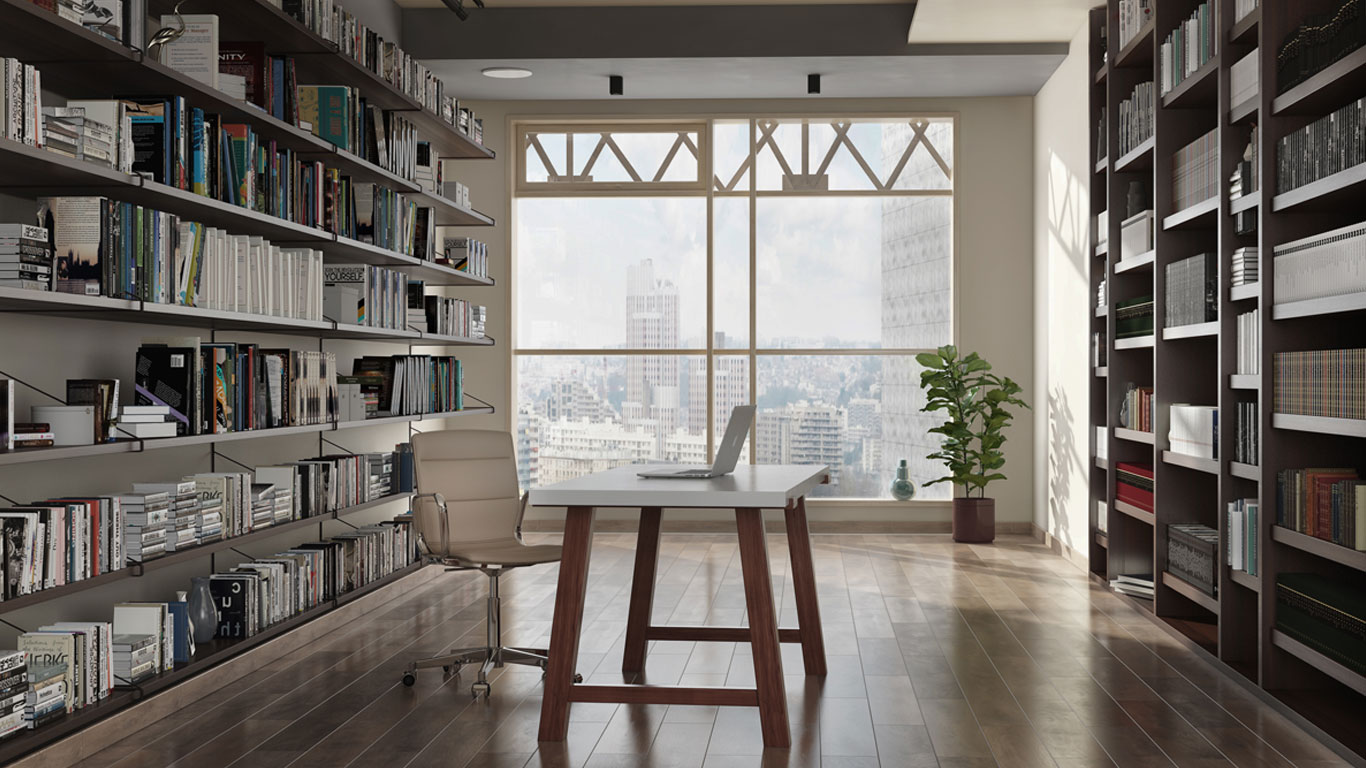 Contemporary solid wood desk in urban study