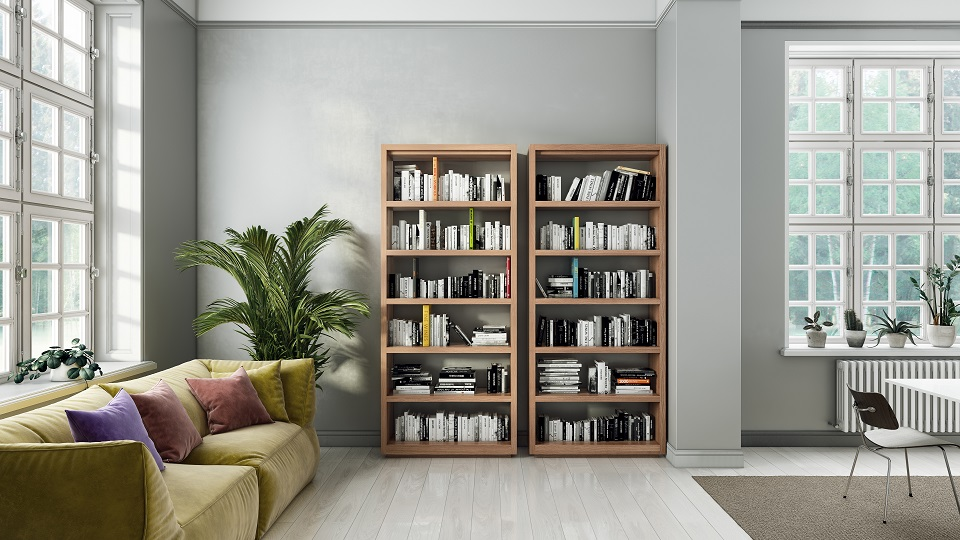 Two Tall Oppen modern bookshelves in a Scandinavian home's living room
