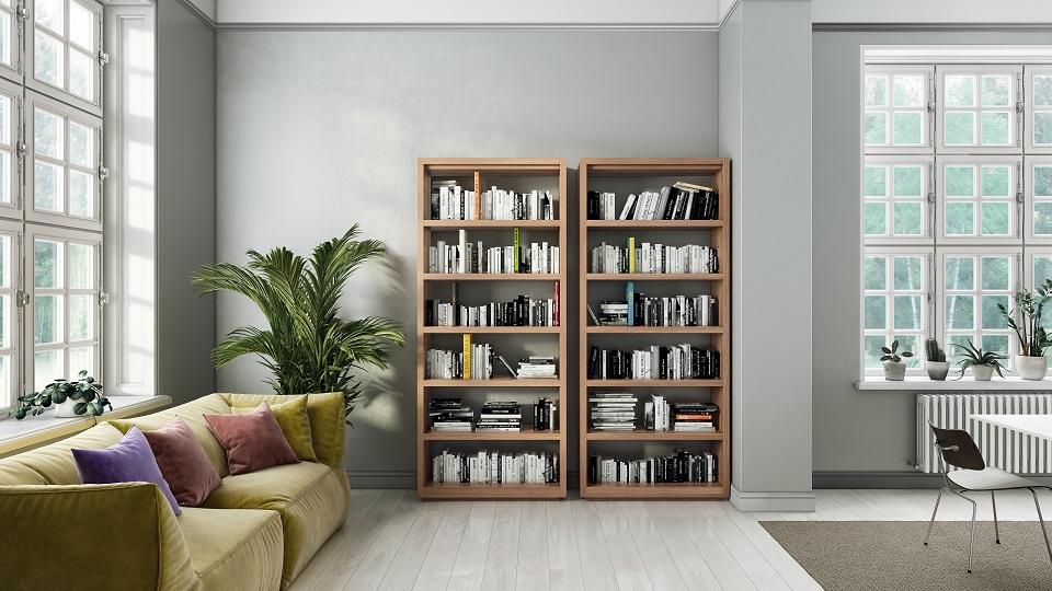 Two Tall Oppen modern bookshelves in a Scandinavian home's living room