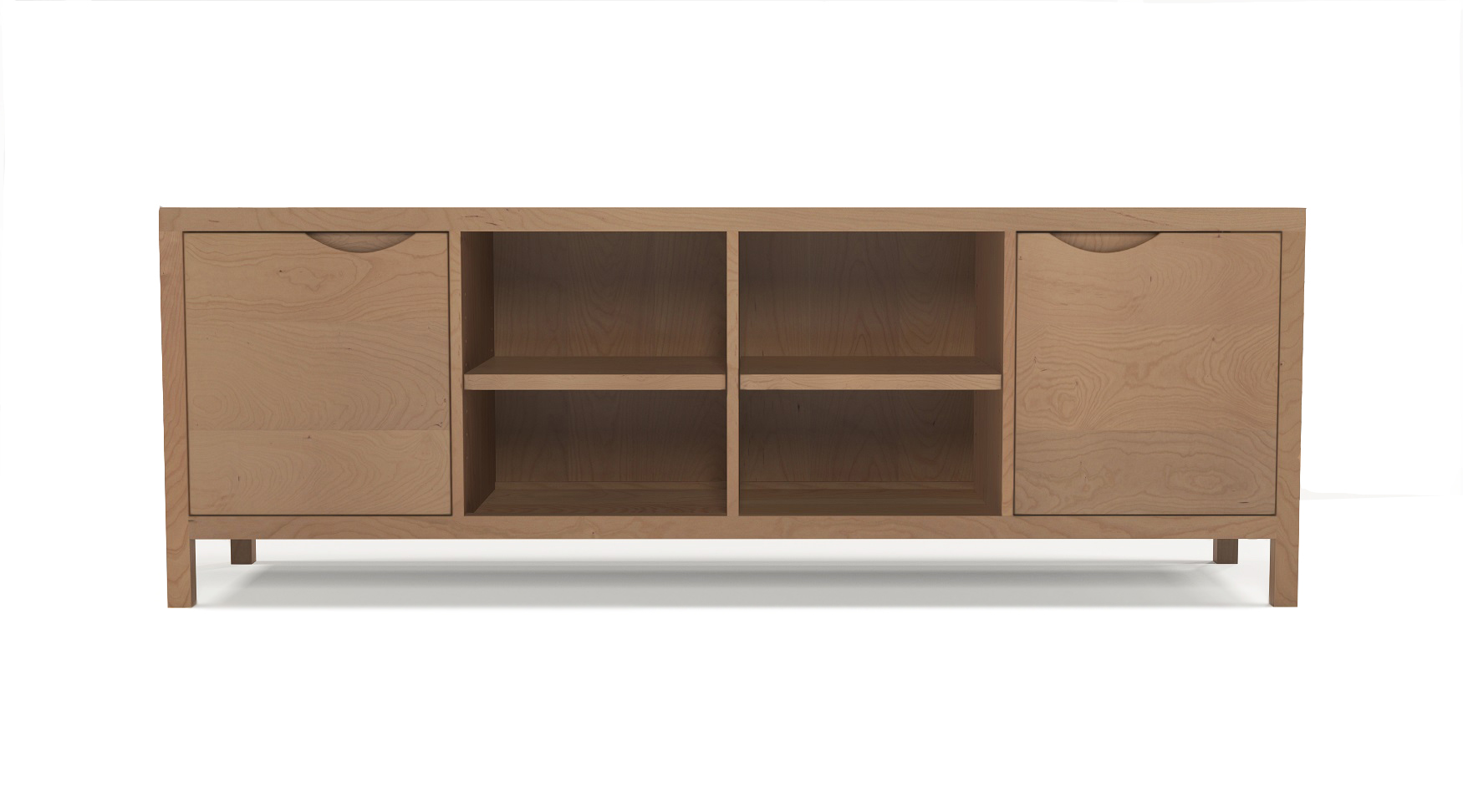 Cherry wooden media cabinet with integrated handles in the two doors