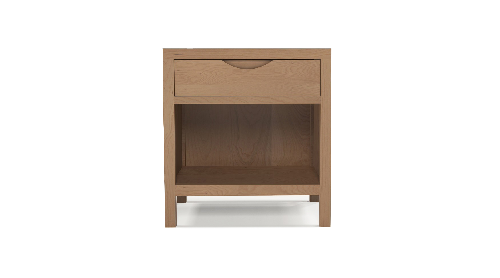 Cherry wood luxury furniture small bedside table with integrated wood handles