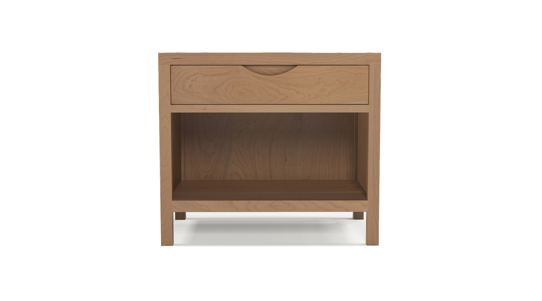Cherry wood luxury furniture large bedside table with integrated wood handles