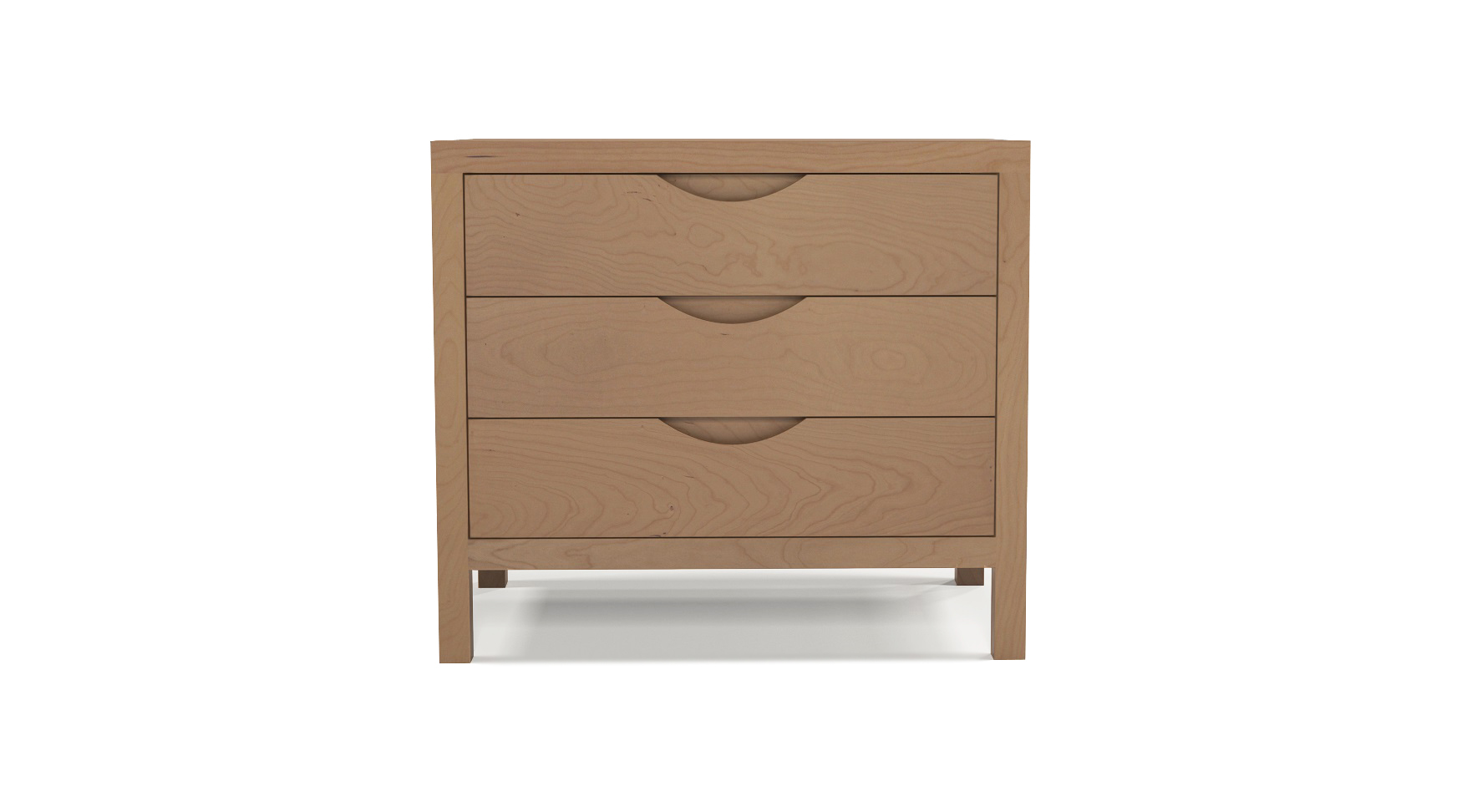 Cherry wood luxury furniture three drawer bedside table with integrated wood handles
