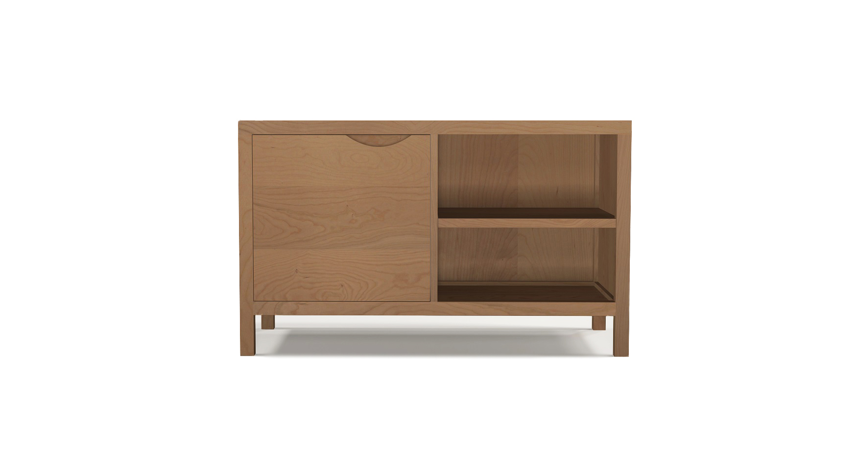 Cherry wood media cabinet with an integrated handle in the single door