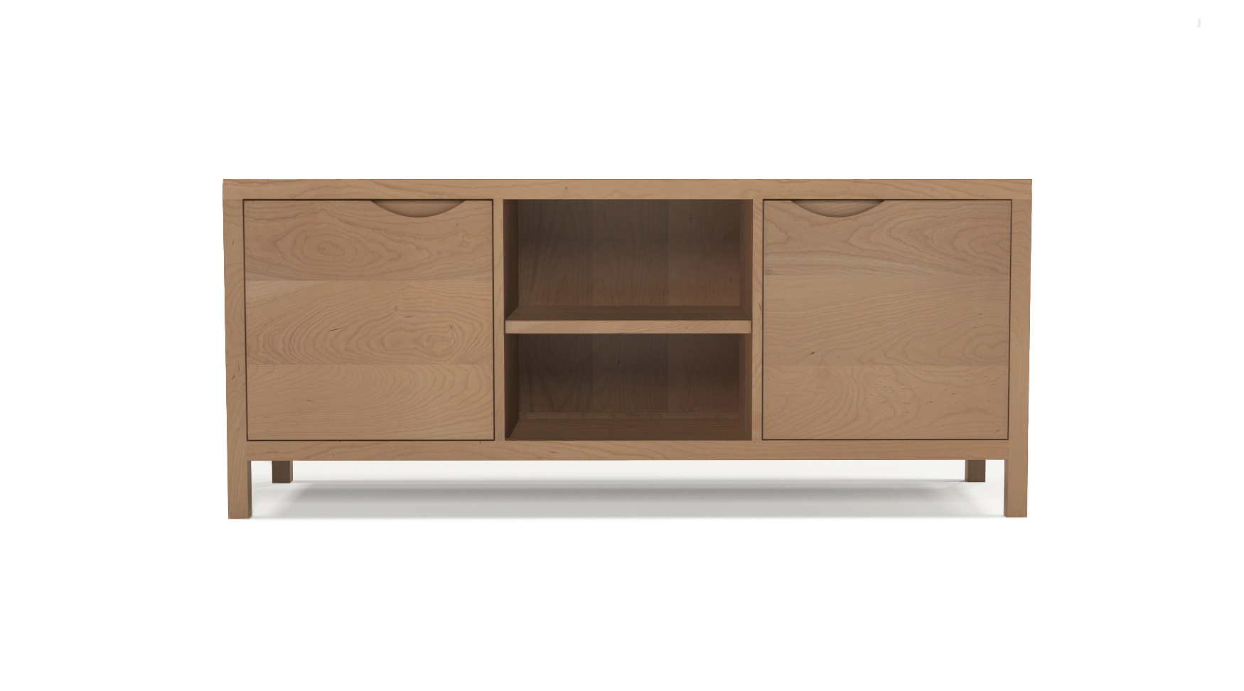 Cherry wooden furniture media cabinet with integrated handles in the two doors
