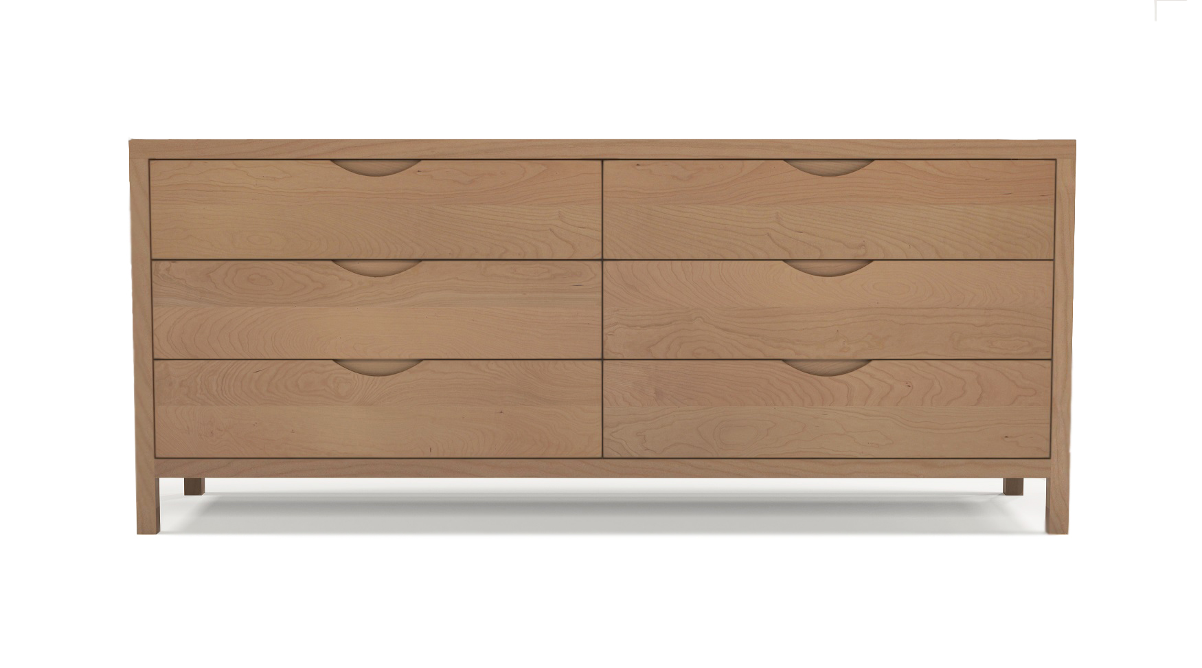 "Cherry wood luxury furniture six drawer 72"" dresser with integrated wood handles"