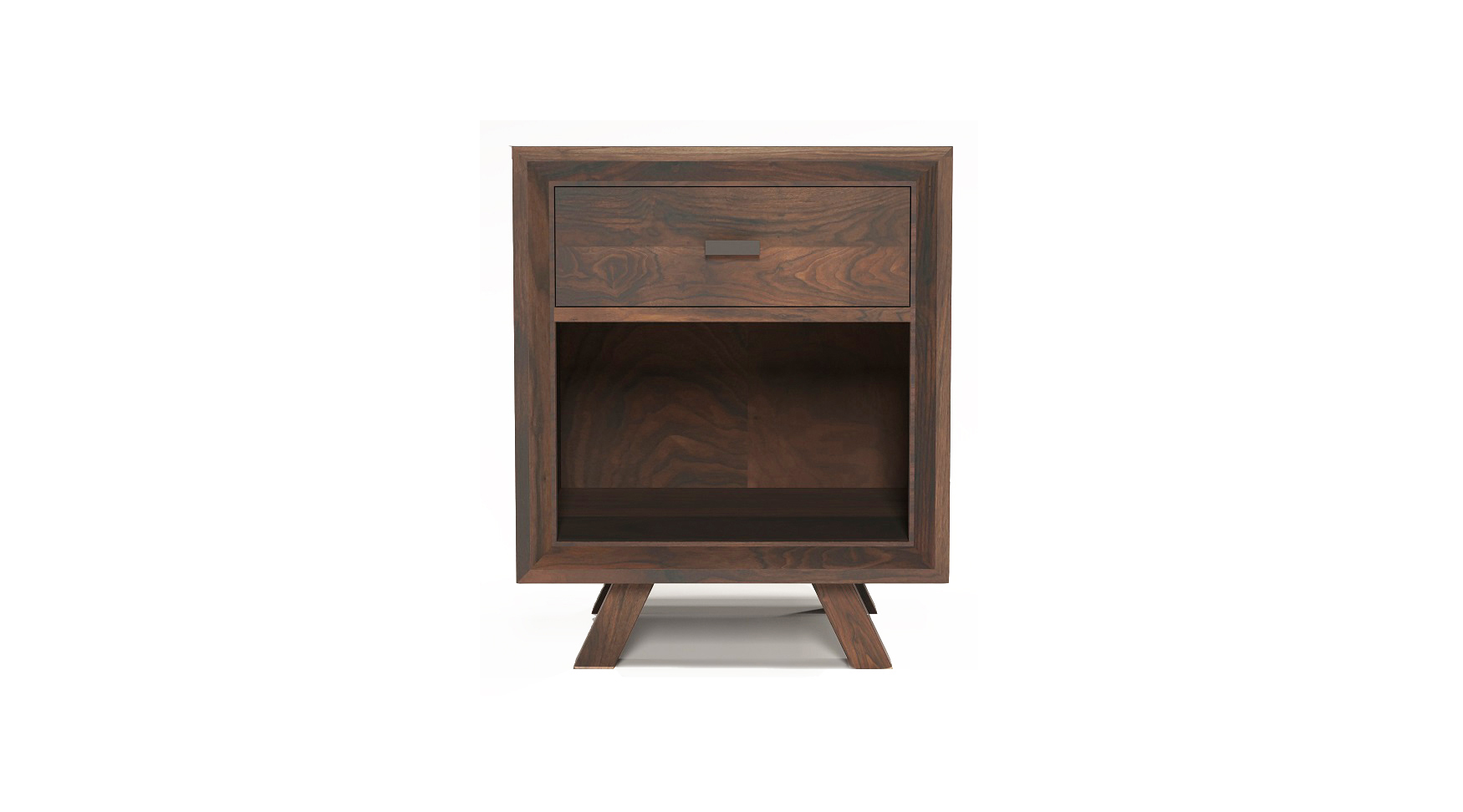 Solid walnut fine furniture small one drawer night stand