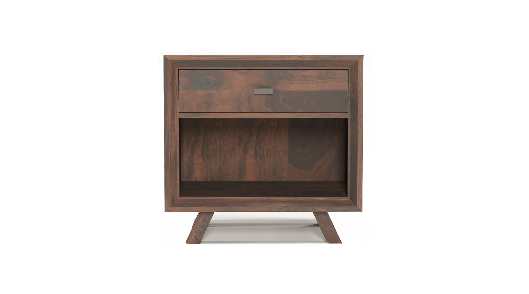 Solid walnut fine furniture one drawer night stand