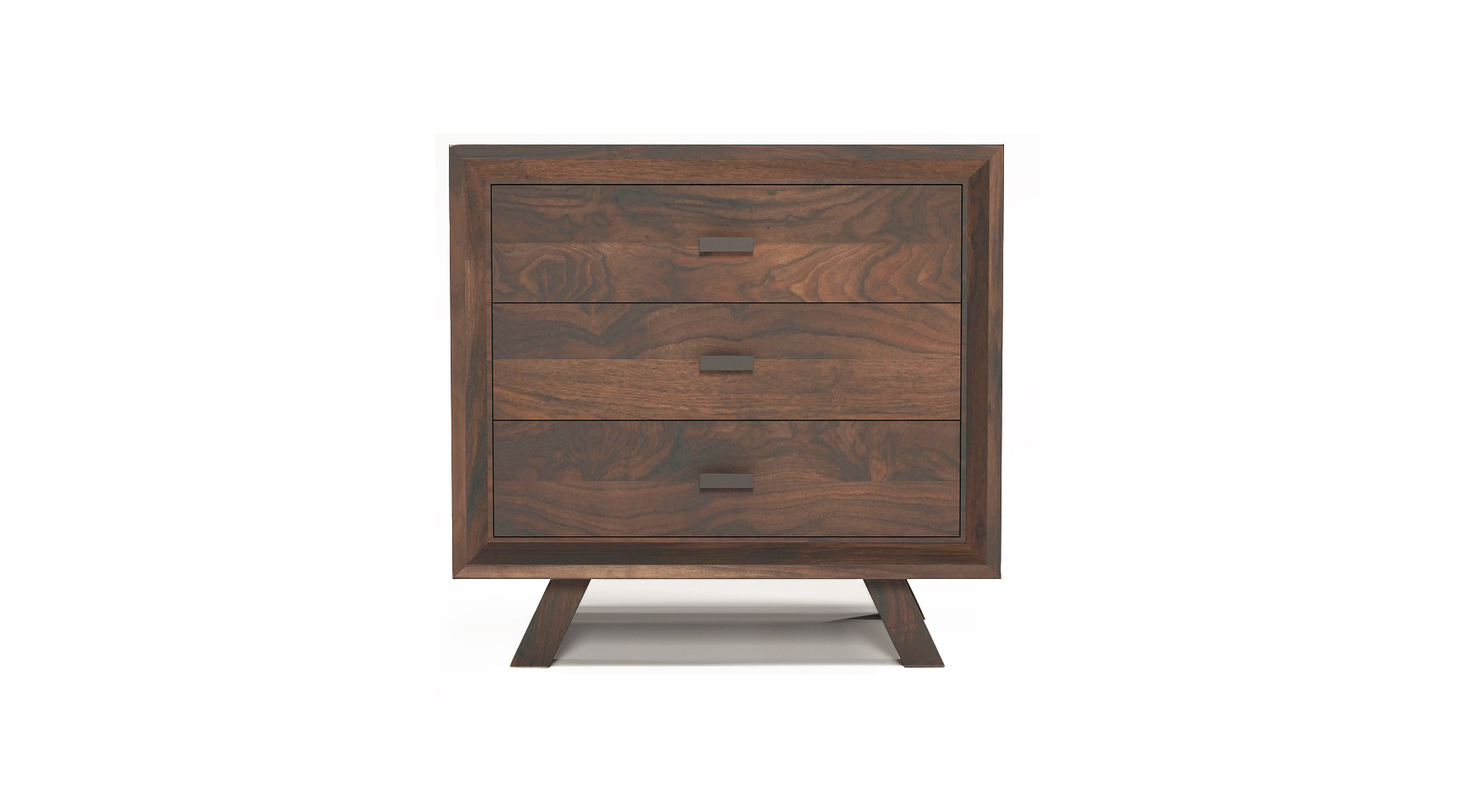 Solid walnut fine furniture three drawer night stand