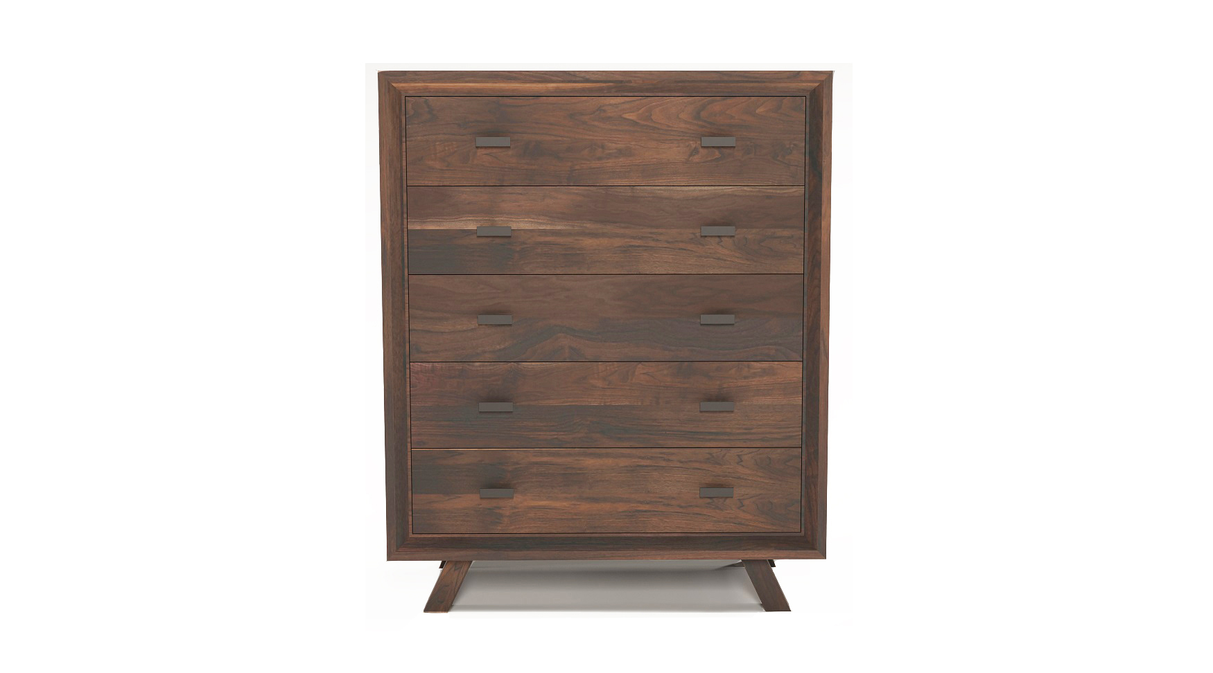 "Solid walnut 36"" fine furniture five drawer dresser"