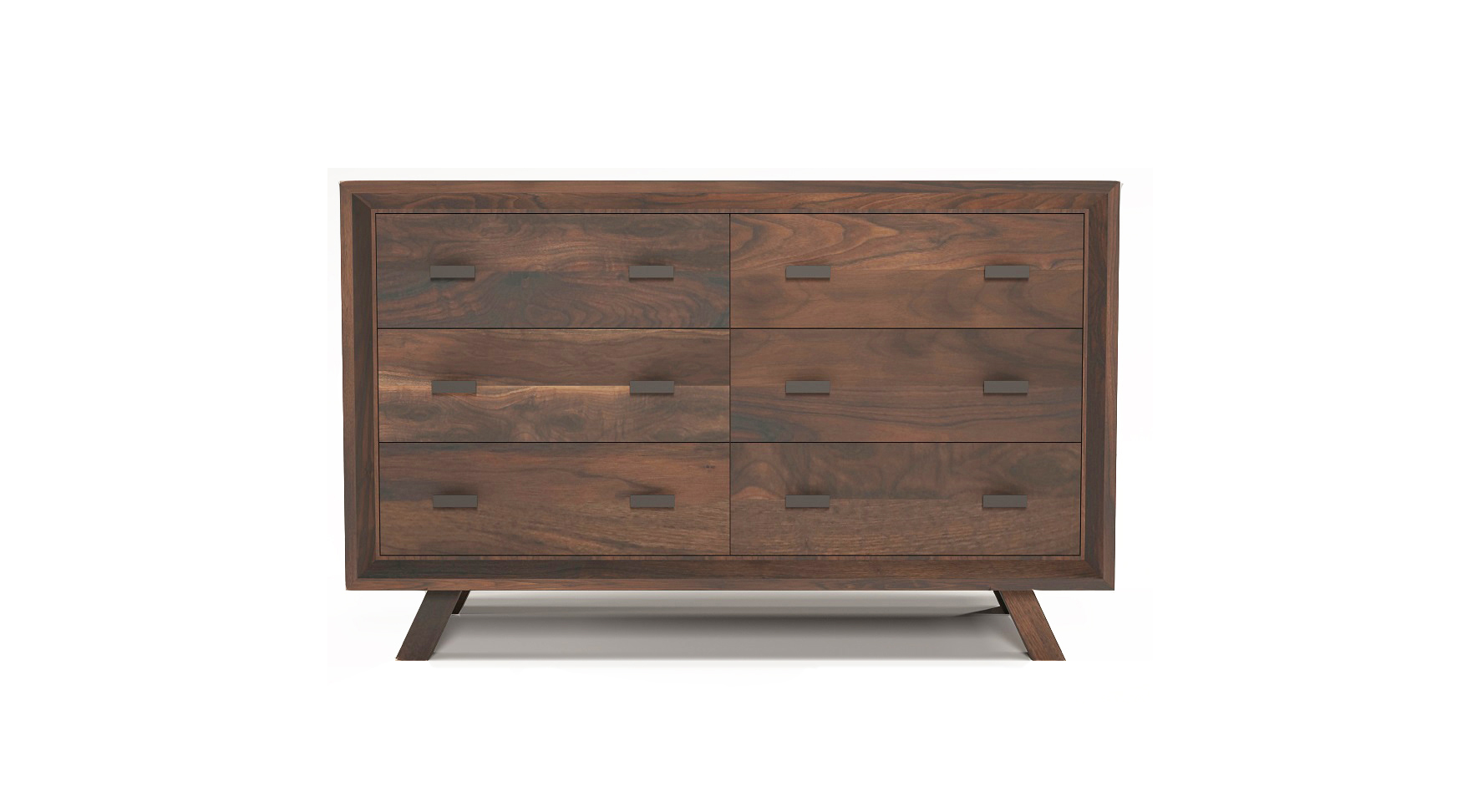 "Solid walnut 48"" fine furniture six drawer dresser"