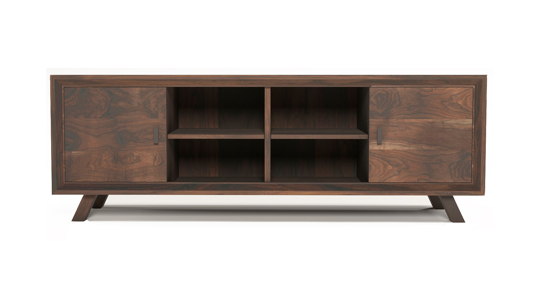 Solid walnut fine furniture media cabinet with two doors