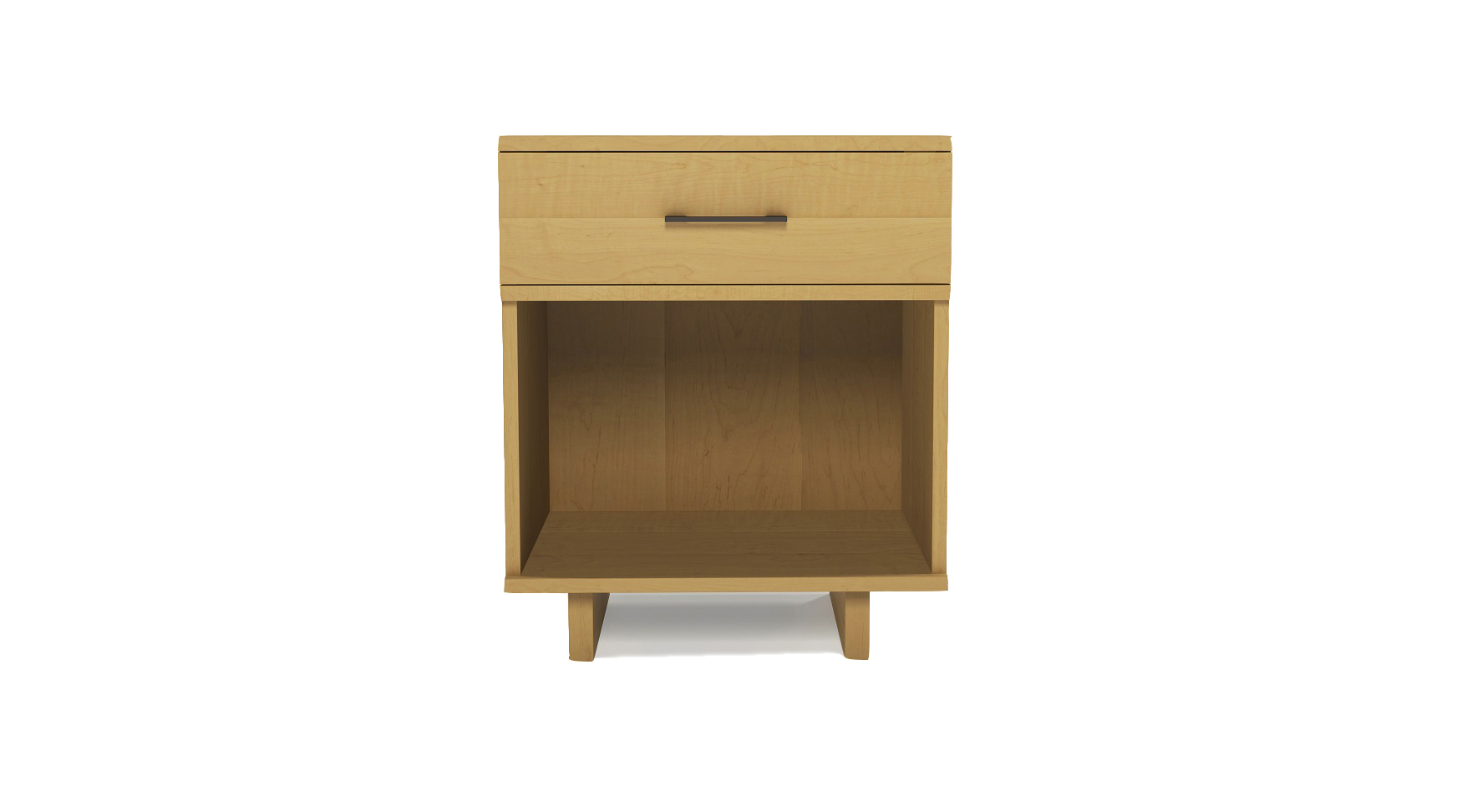 Solid maple modern Scandinavian one drawer small bedside table