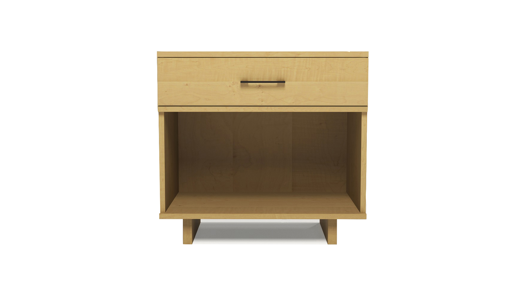 Solid maple modern Scandinavian one drawer bedside table