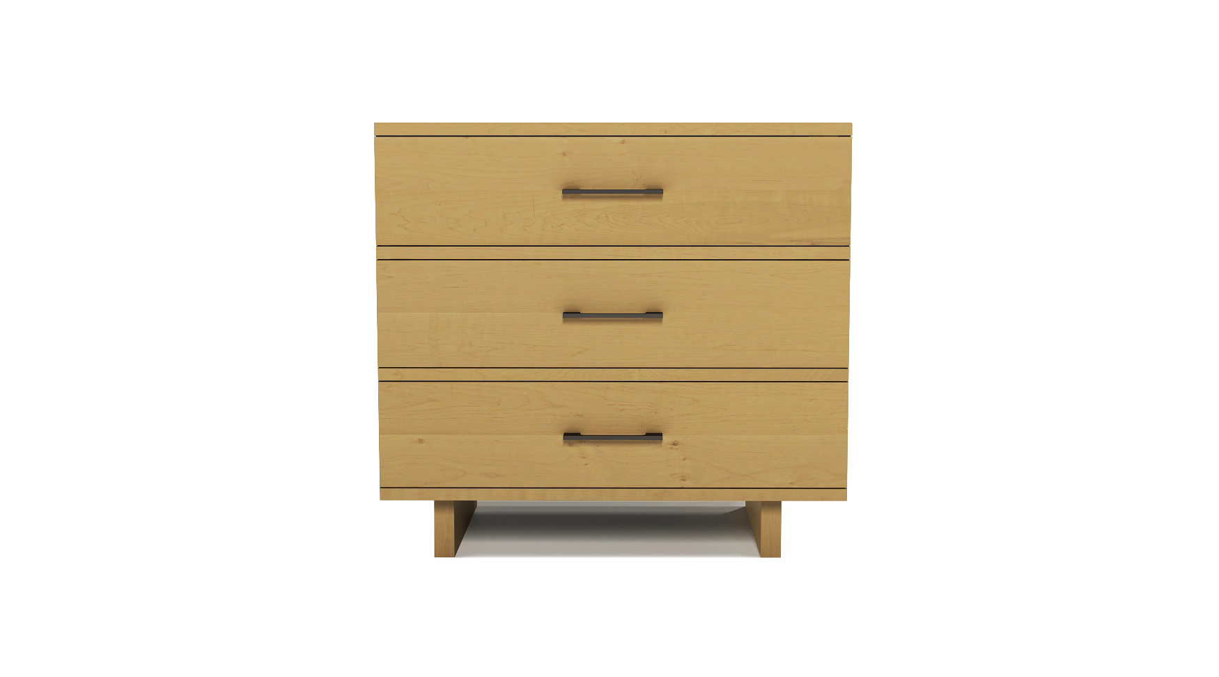 Solid maple modern Scandinavian three drawer bedside table