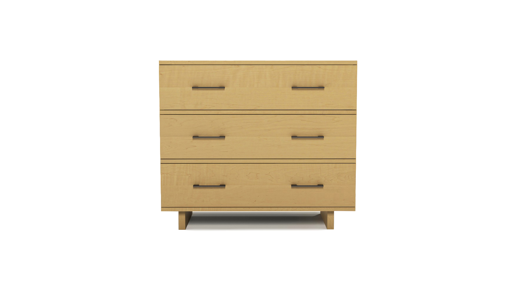 Solid maple modern Scandinavian three drawer dresser