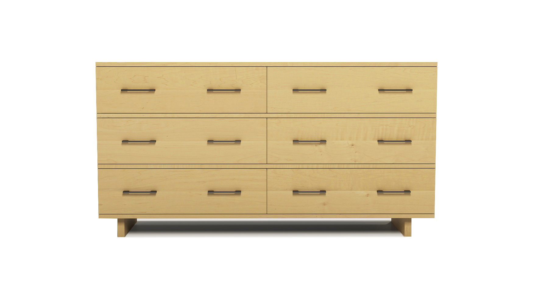 "Solid maple modern Scandinavian six drawer 60"" chest"