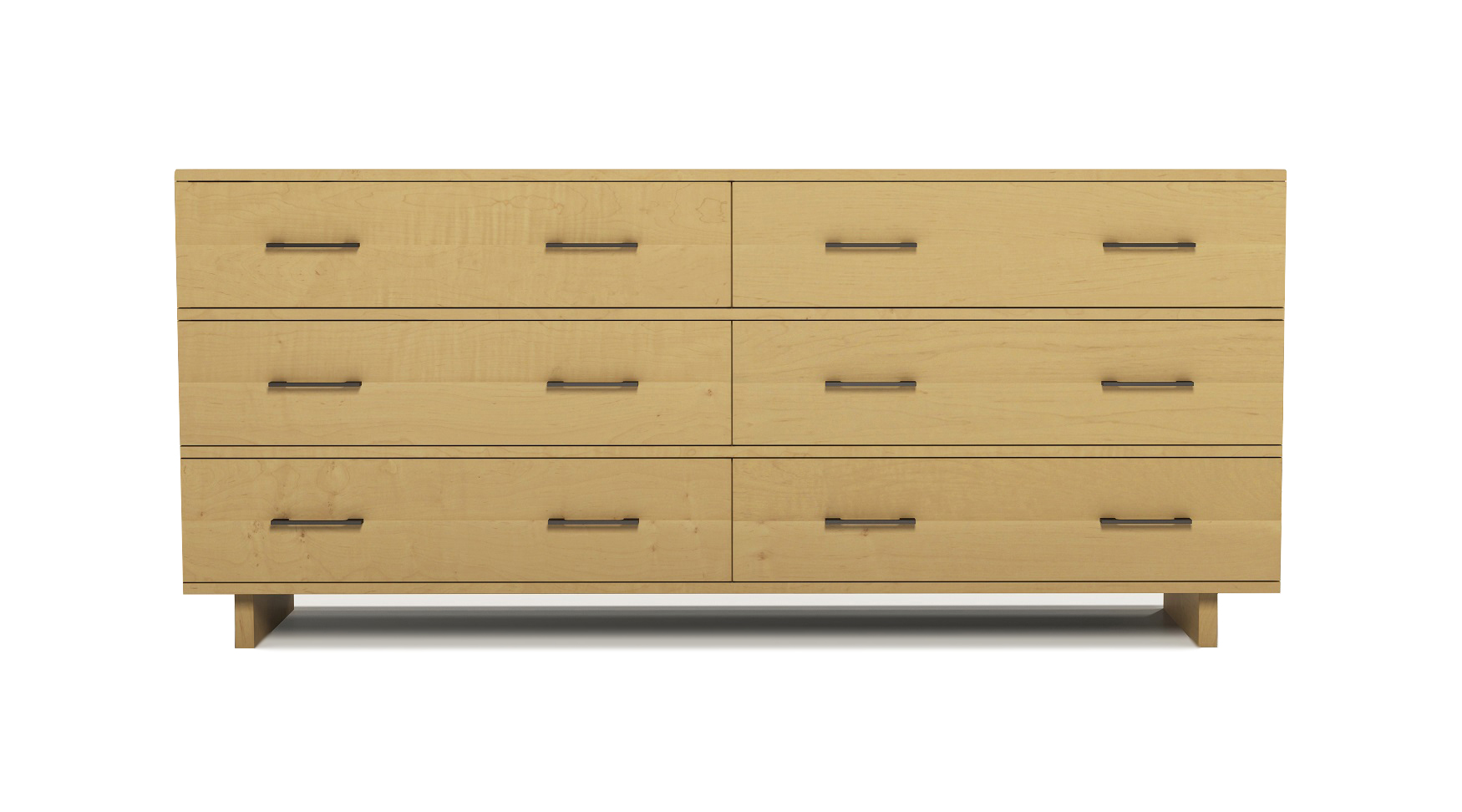 "Solid maple modern Scandinavian six drawer 72"" chest"