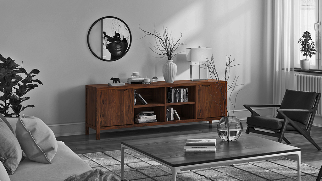Walnut solid wood furniture cabinet in Scandinavian apartment living room