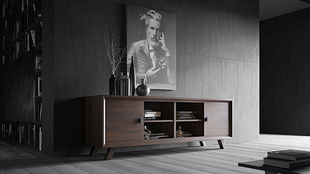 Walnut fine furniture cabinet with two doors in a dark modern living room