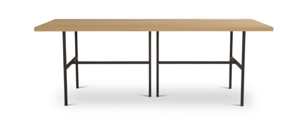 Contemporary Table With Black Metal Legs