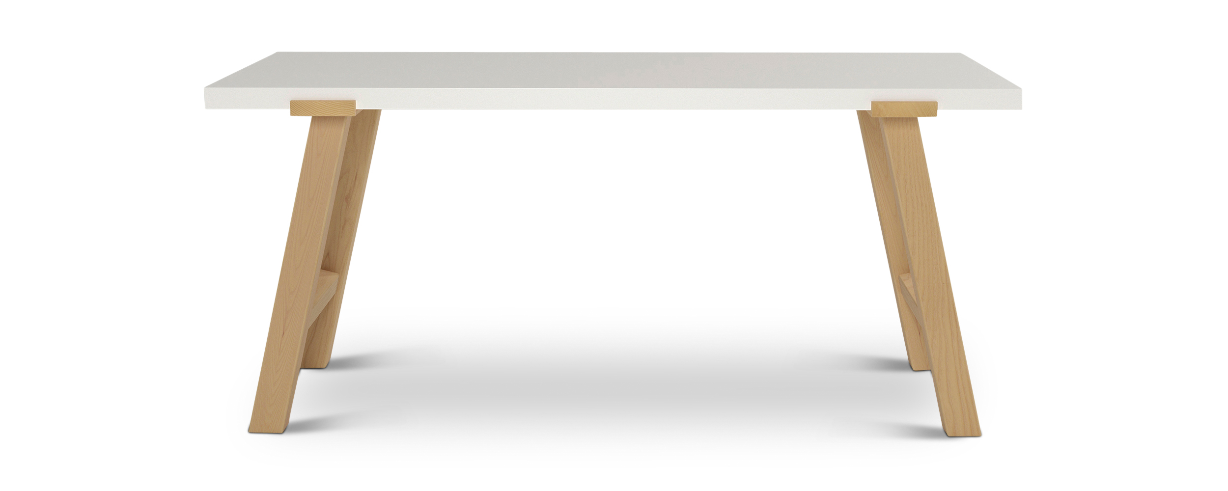 Pulten.1 modern danish desk with real wood legs and a white top