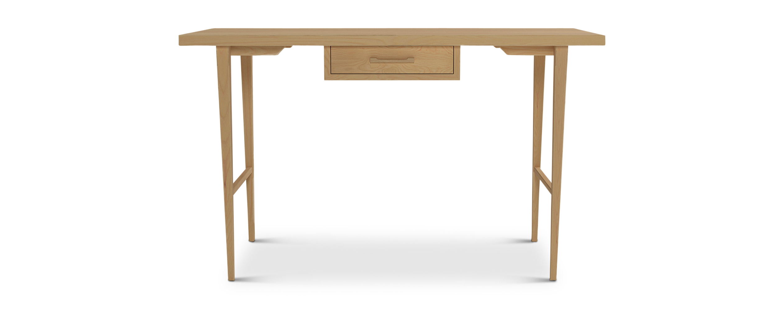 Single drawer small ash classic solid wood desk with thin tapered legs