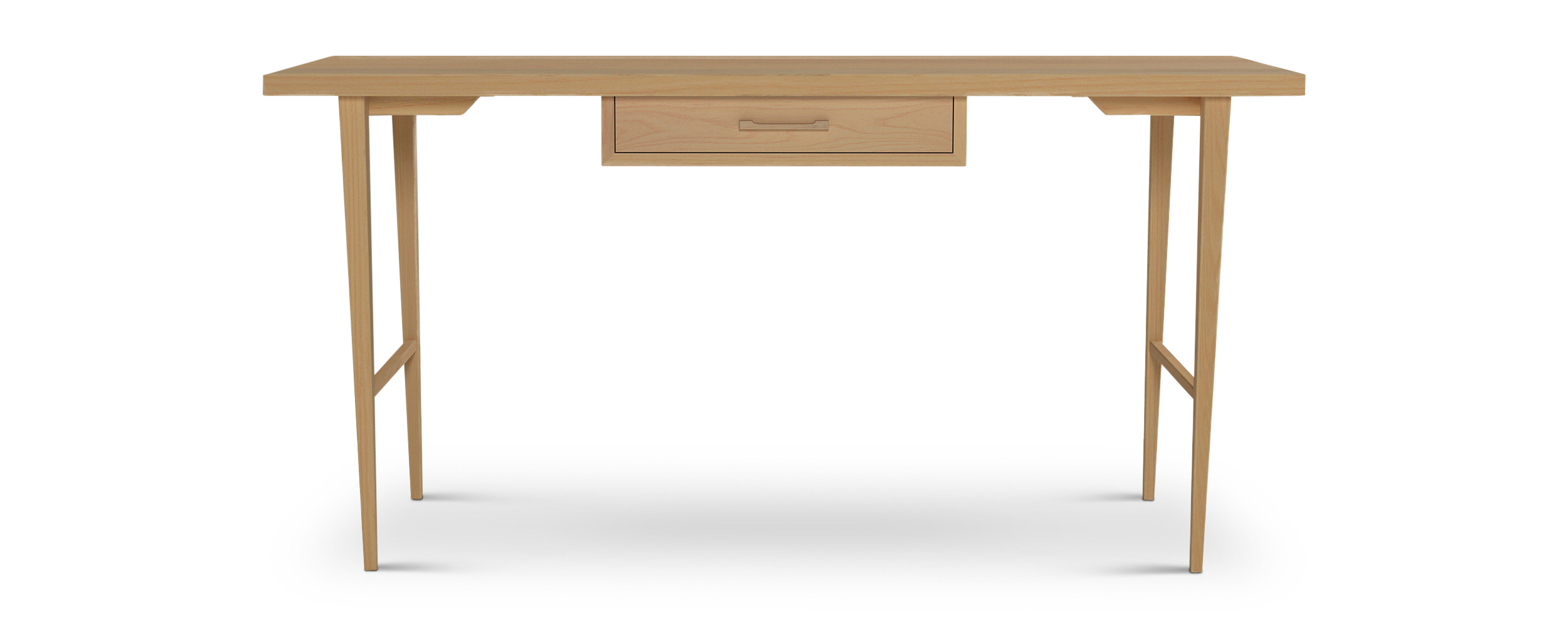 Single drawer ash classic solid wood desk with thin tapered legs