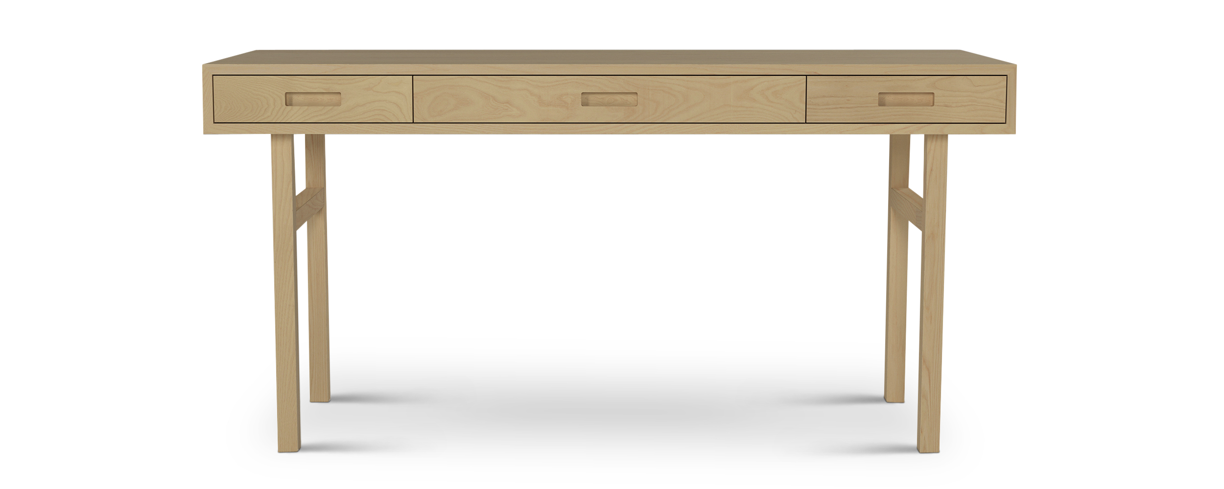 Three drawer modern office desk made with solid woods