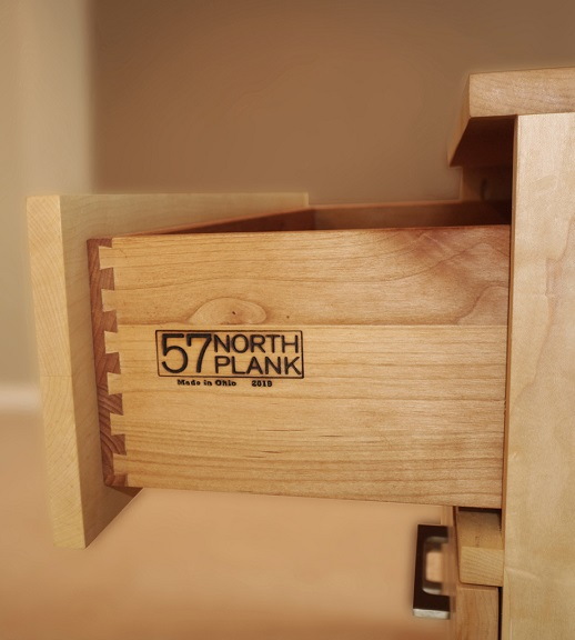 Maple dresser drawer with dovetail joints