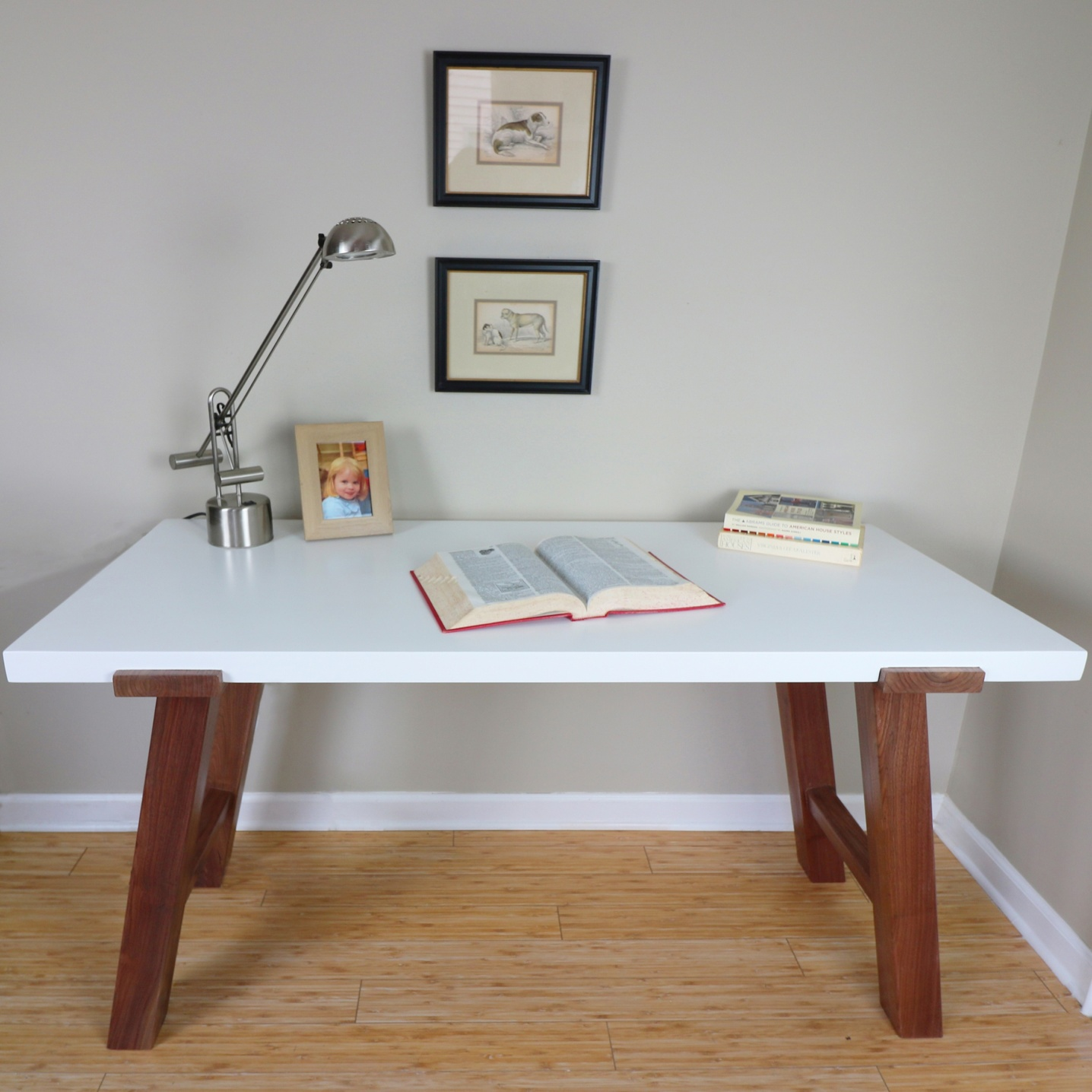 Scandinavian white desk with solid wood legs