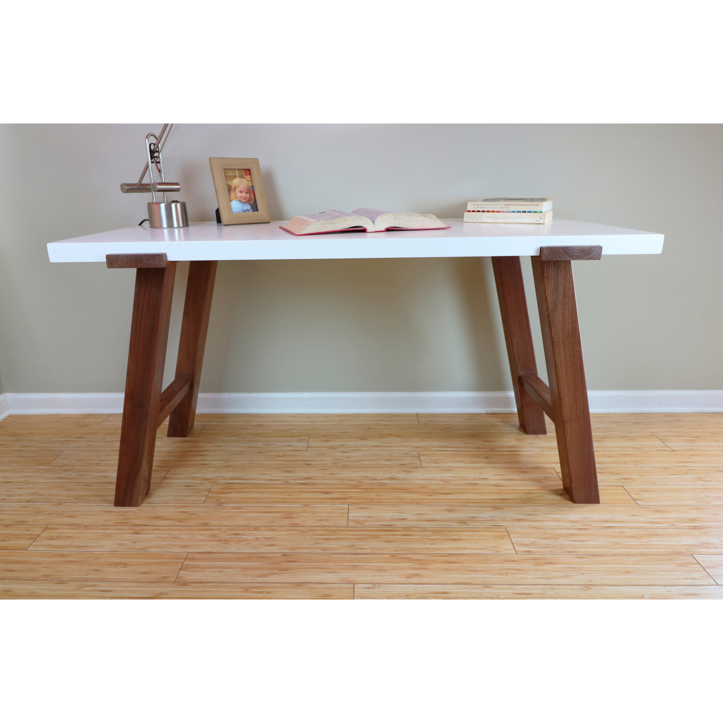 Contemporary desk with a maple white top