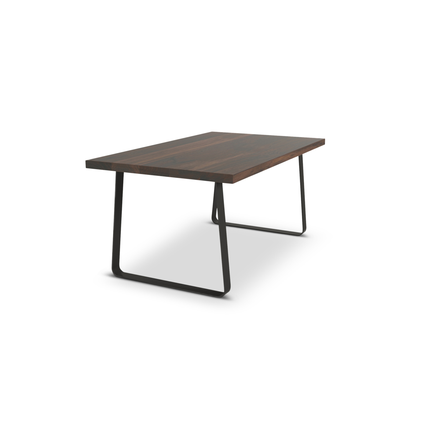 66 inch long modern dining room table with walnut top