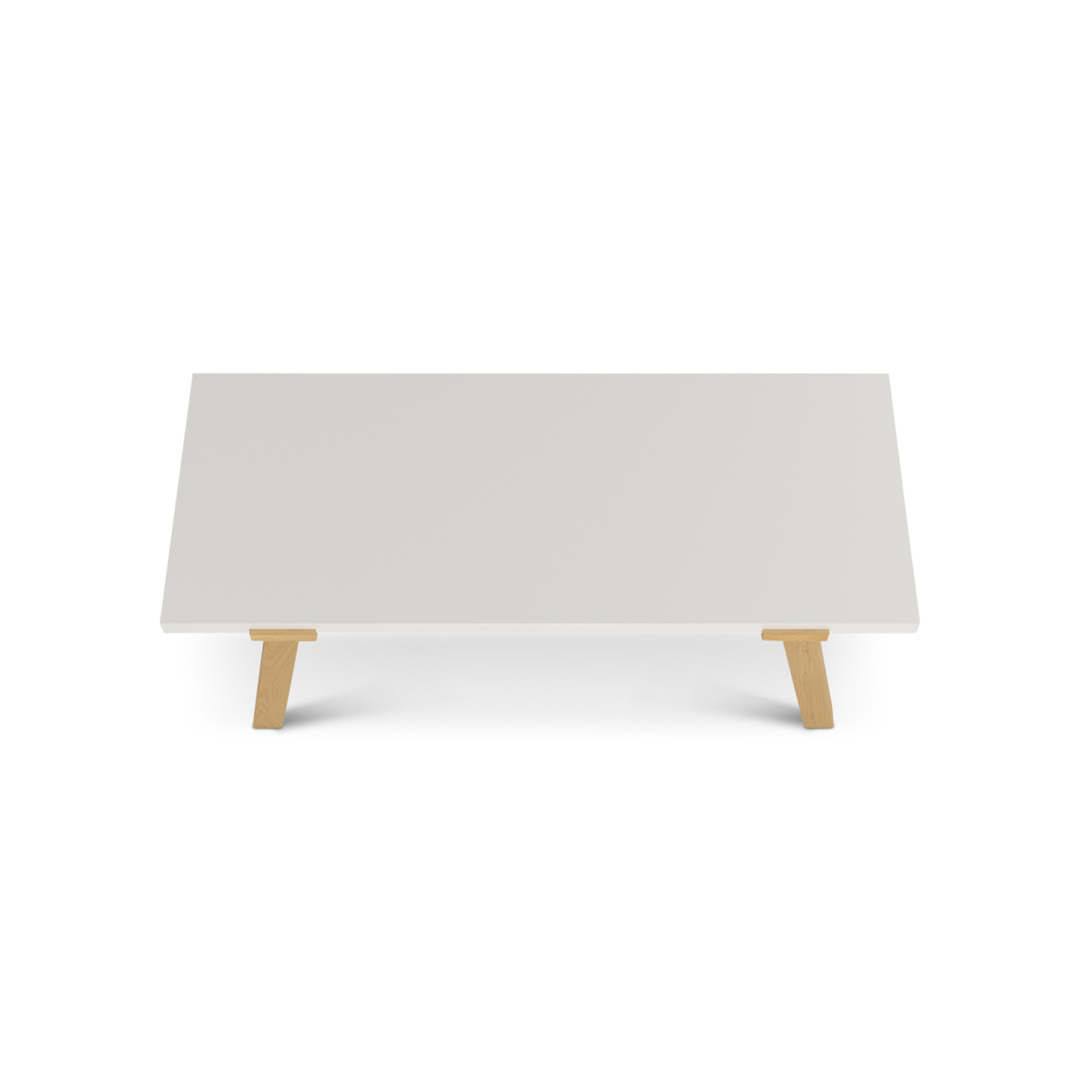 A desk with a thick white maple desk surface