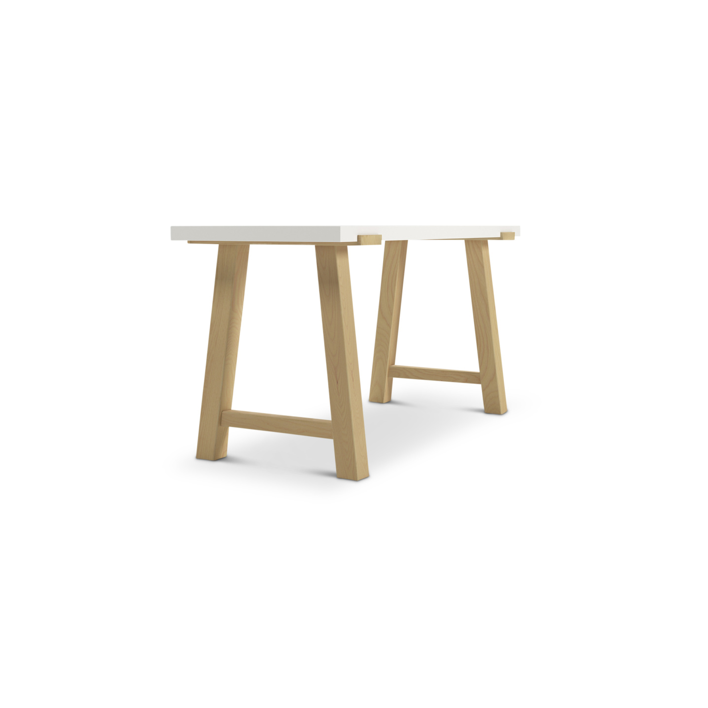 Ash wooden desk with lacquered top