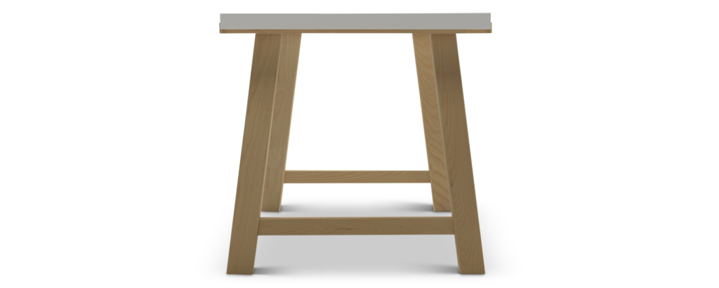 Pulten office desk with real wood legs--side view
