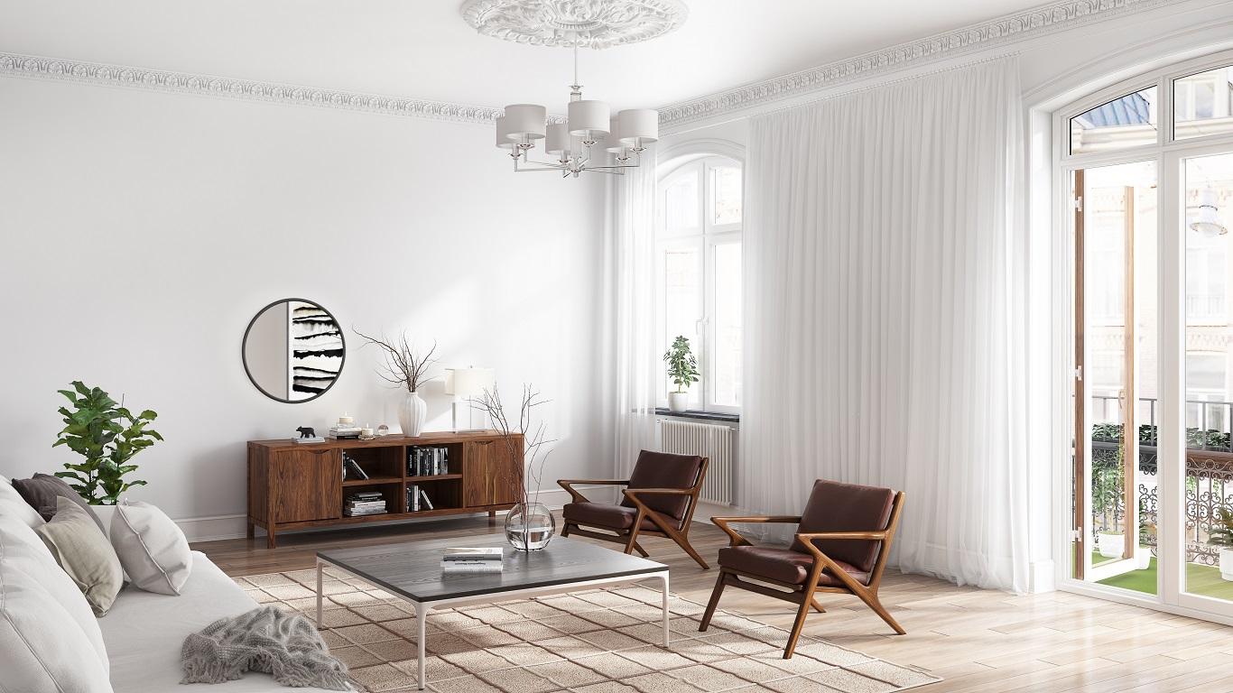 Walnut solid wood furniture cabinet in Scandinavian apartment living room