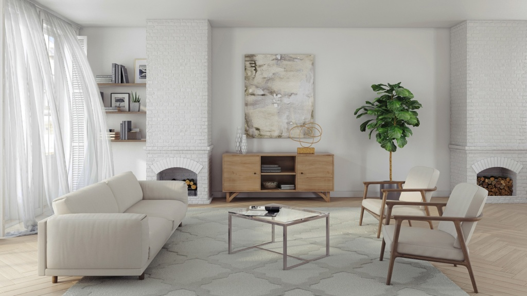 Series 454 custom ash media cabinet with hand cut legs in a contemporary living room