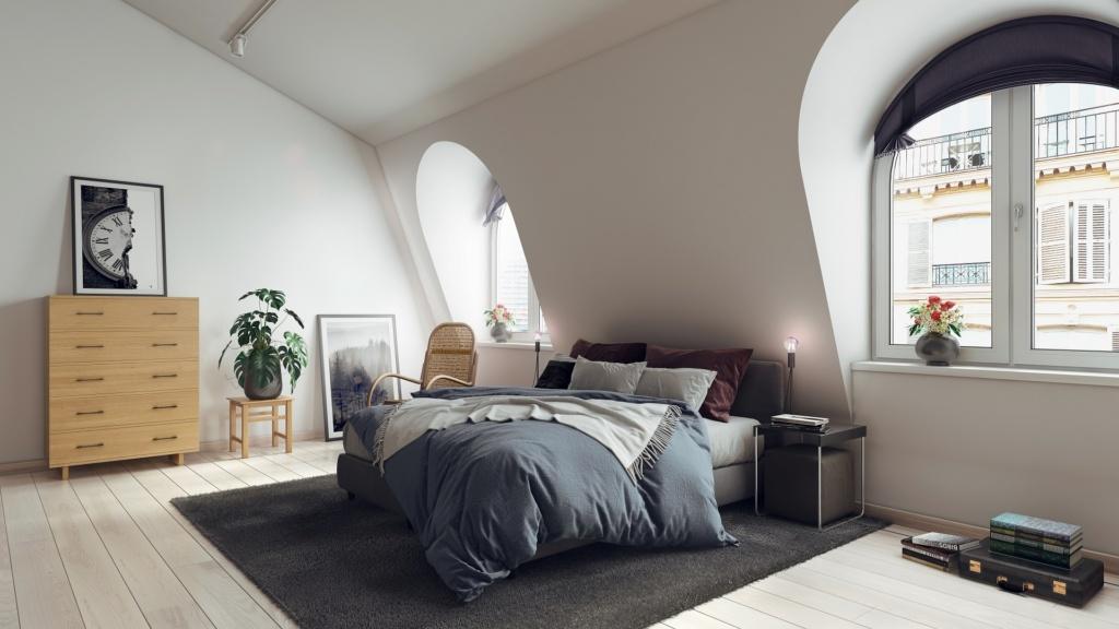 Tall modern Series 323 real wood dresser in a Parisian bedroom