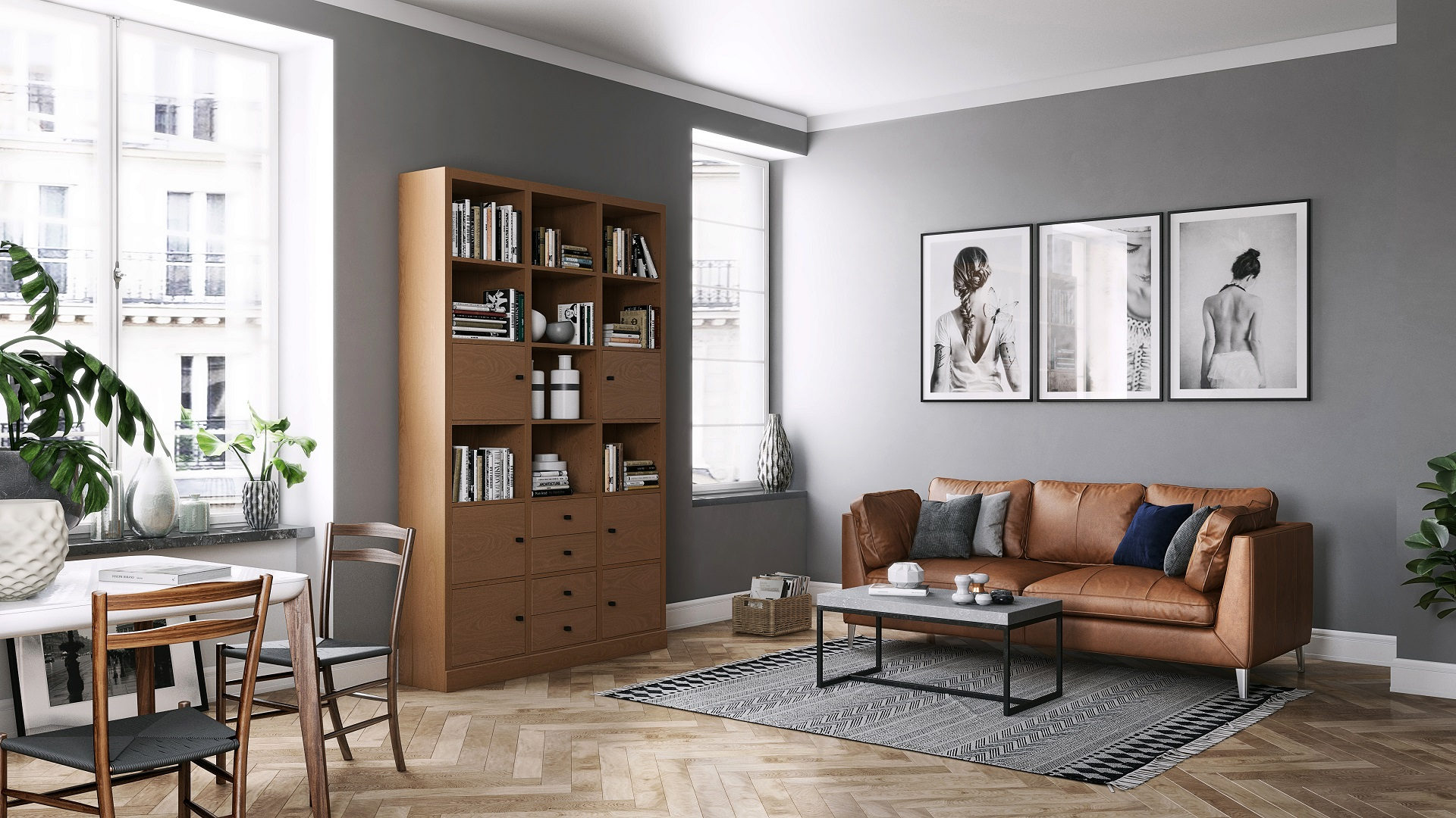 Cherry wooden bookshelf in modern city apartment with Swedish furniture