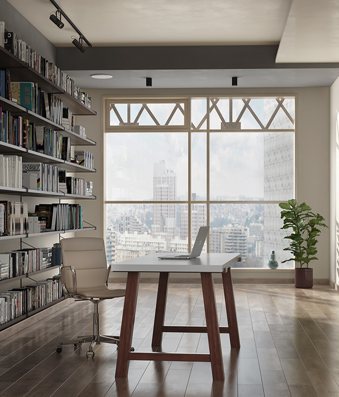 Solid Wood Modern Desk in an Urban Highrise Office
