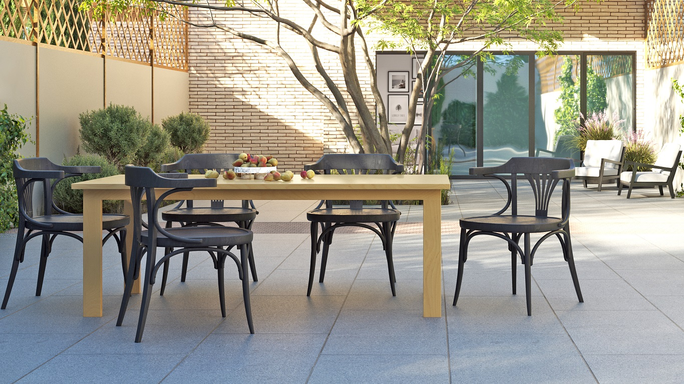 Modern Solid Maple Wood Table on an Urban Patio