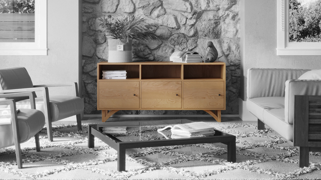 Modern wood furniture cabinet or media cabinet in a mid-century living room