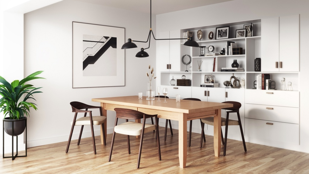 Ferme solid wood kitchen table in a modern Scandinavian dining room