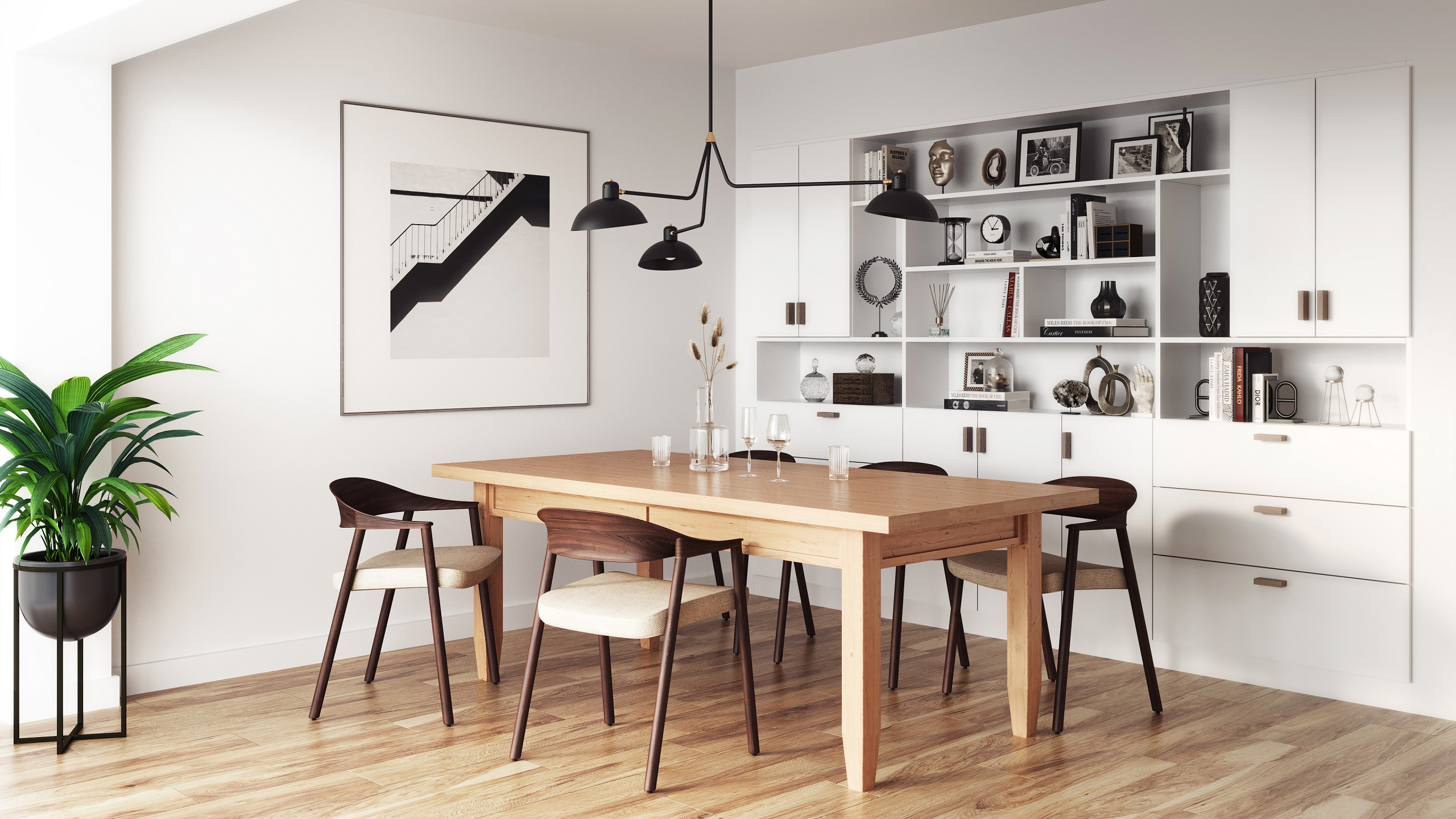 Solid wood contemporary Danish furniture table in a modern dining room